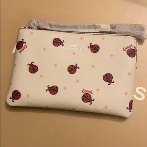 Corner Zip Wristlet With Ladybug Print